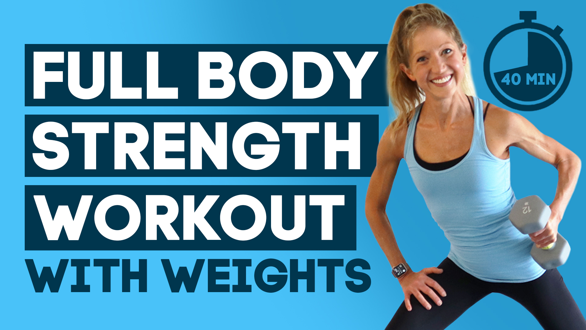 40 Min Full body Low Impact Strength Workout With Weights + Mini Bands